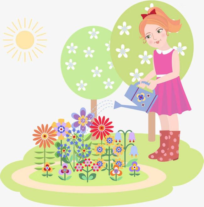Comic Madchen Blumen Giessen Cartoon Madchen Blumen Giessen Png Bild
