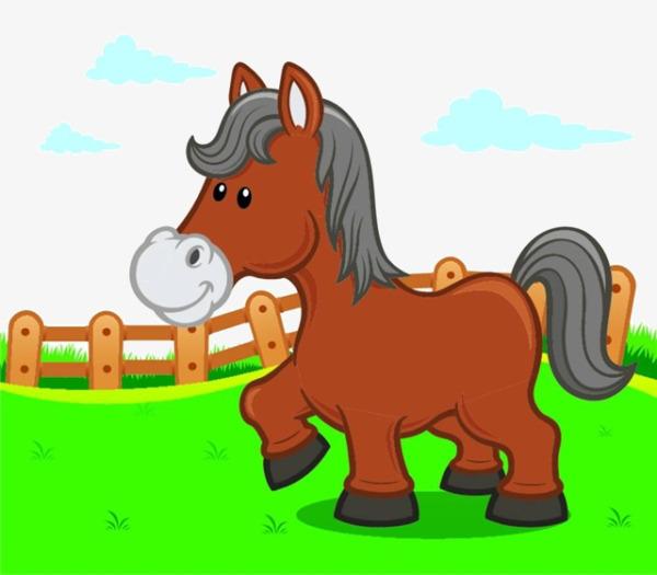 Desenhos De Cavalo No Pasto Cartoon Prado Ma PNG Imagem