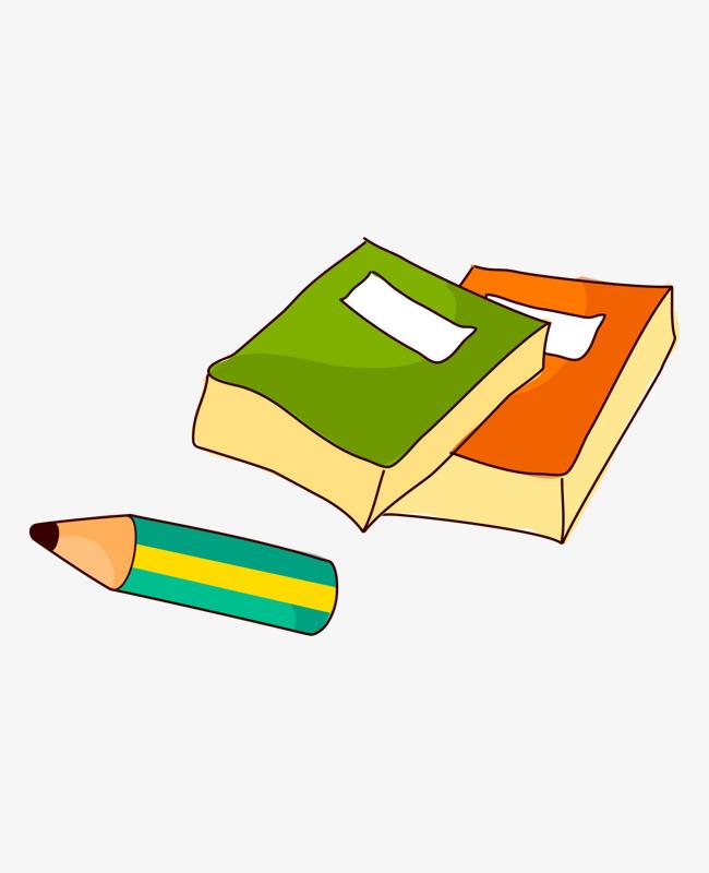 Cartoon Vector Libro Lápiz Color Pintado A Mano Herramienta De ...