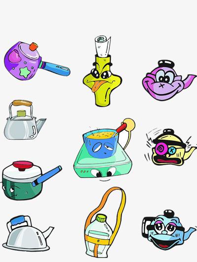 Cocina De Dibujos Animados Color Hervidor De Agua Tetera Imagen PNG ...