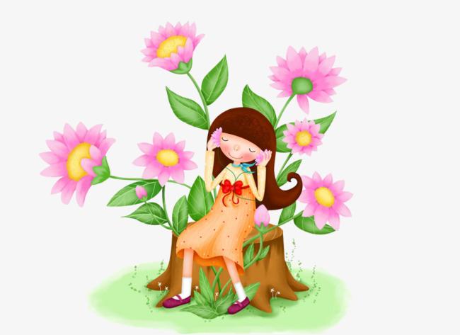 cartoon peint des fleurs de la petite fille et rose de
