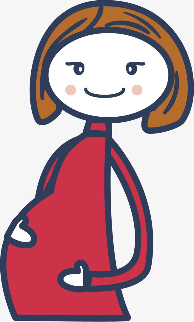 Kartun Ibu Hamil Merah Pakaian Perut Gendut Imej Png Dan Clipart