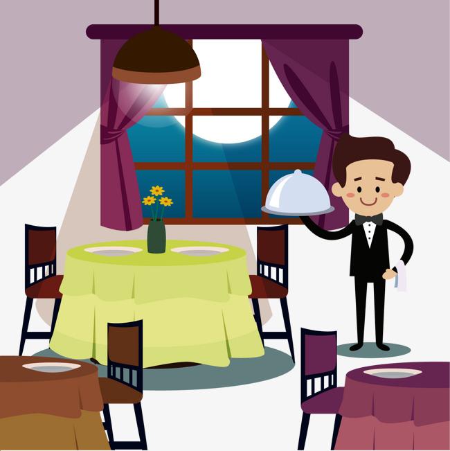 Cartoon night restaurant interior vector material