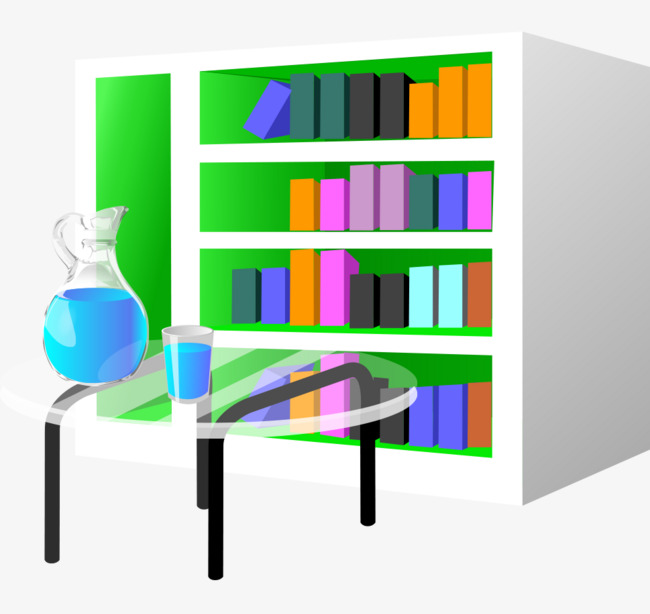 Cartoon Office Bookcase Painted Glass Coffee Table Vector