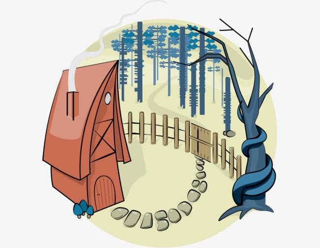 Haus Stein Den Zaun Hand Comic Wald Bemalte Hauser Handbemalte Zaun
