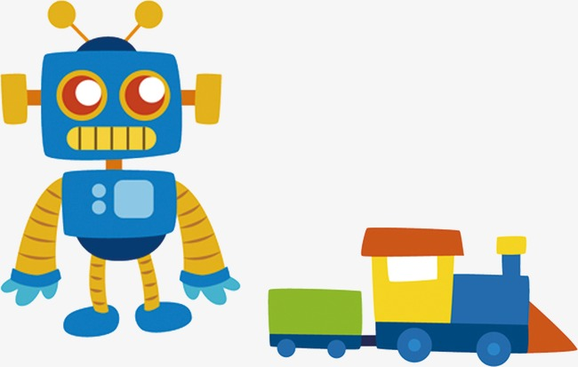 Kartun Robot Kecil Kereta Api Mainan Corak Mainan Kartun Comel Imej