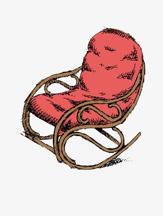 Le Dessin De La Chaise A Bascule Rouge Repos Pause Dejeuner Image