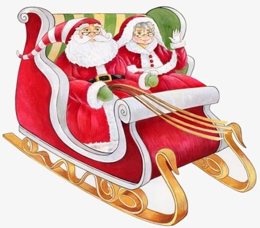 Der Weihnachtsmann Geschenke Schlitten Cartoon Hand Frohe