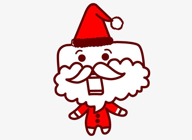 Cartoon Cara Cuadrada Santa Claus Red Hat Vestido Rojo