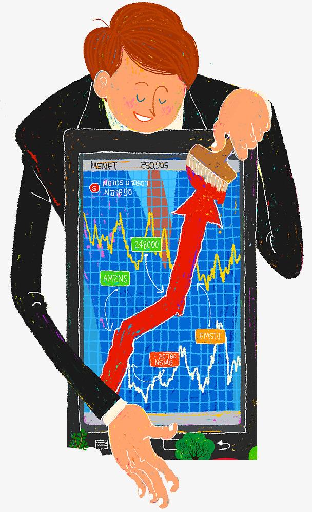 Cartoon,stock market,vector diagram, stock trading, stagging, bull.