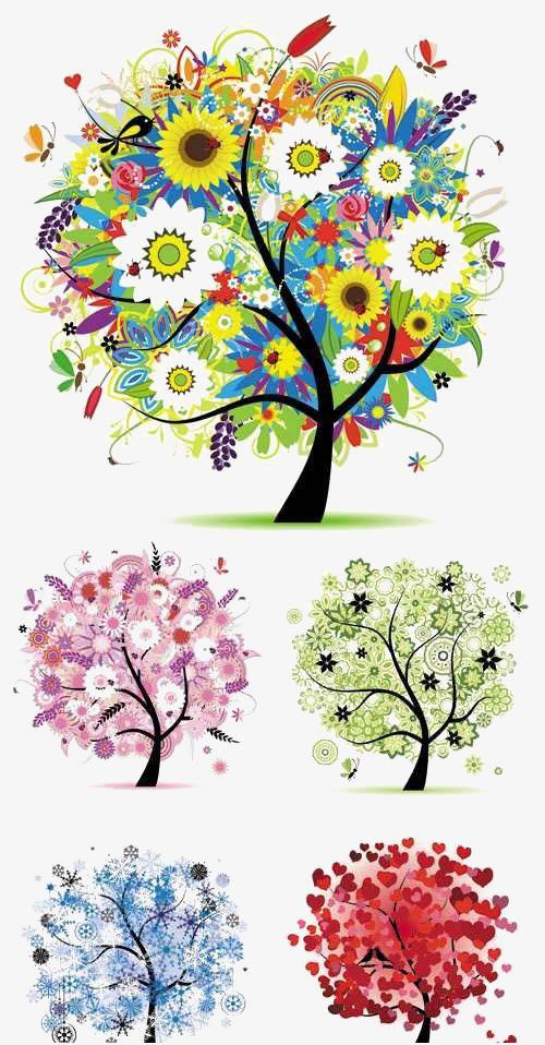 Dibujos De Arboles Pintado A Mano De Arboles Color De Arboles