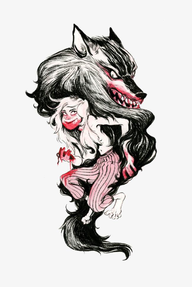 Dessin de loup garou fille le loup garou fille sanglant - Dessin loup garou ...
