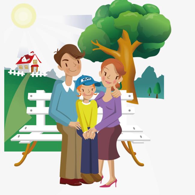Kasual Keluarga Tiga Vektor Vektor Ilustrasi Rekreasi Luar Duduk Di