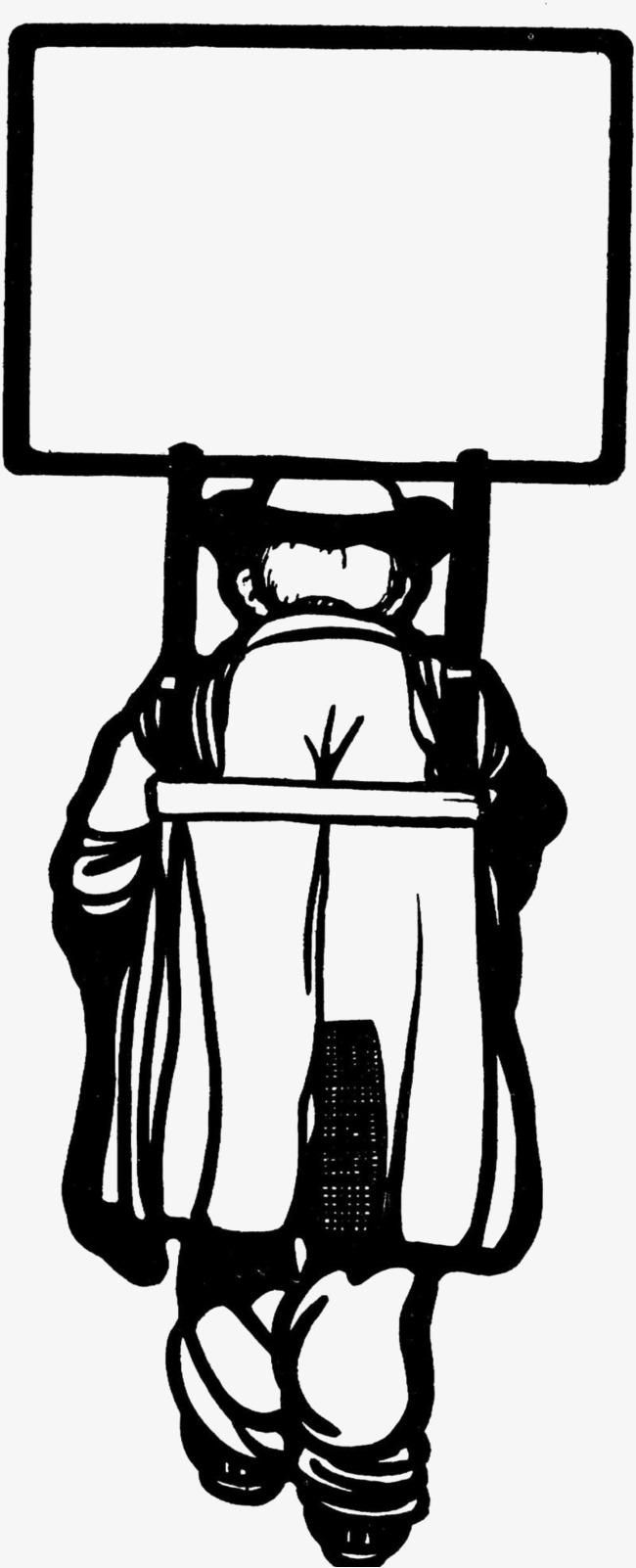 無料ダウンロードのための人物背景白黒イラスト 白黒 簡約 後ろ姿 png画像