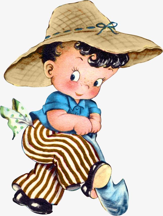 Niño Sombrero De Paja La Gente Personaje Los Niños De Dibujos ... e2655c710be