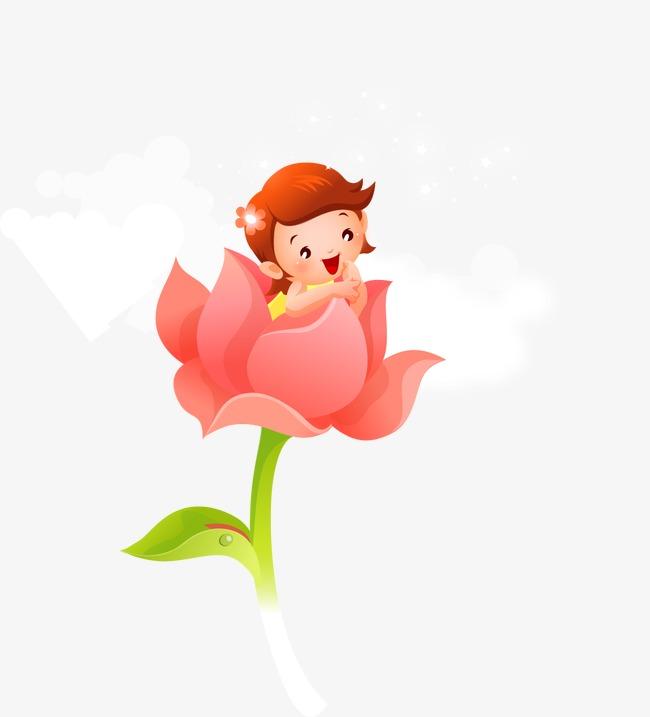 Pintado A Mano De Flores De Dibujos Infantiles De Nino Cartoon