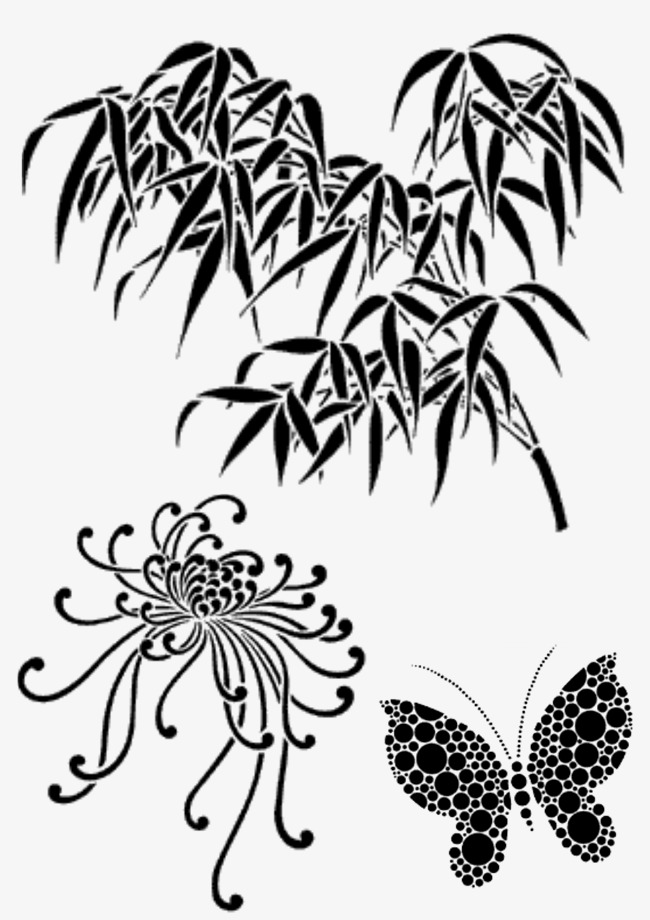 Chinese Culture Chinese Clipart Bamboo Chrysanthemum