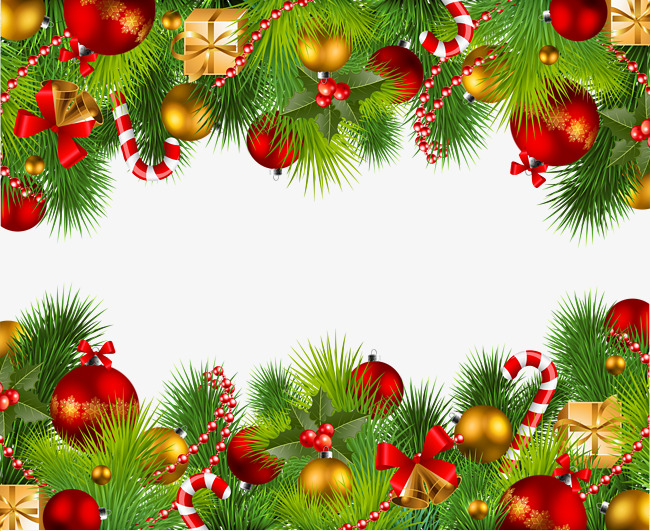 Christmas Ornaments Up And Down Borders, Frame, Strap, Video PNG ...