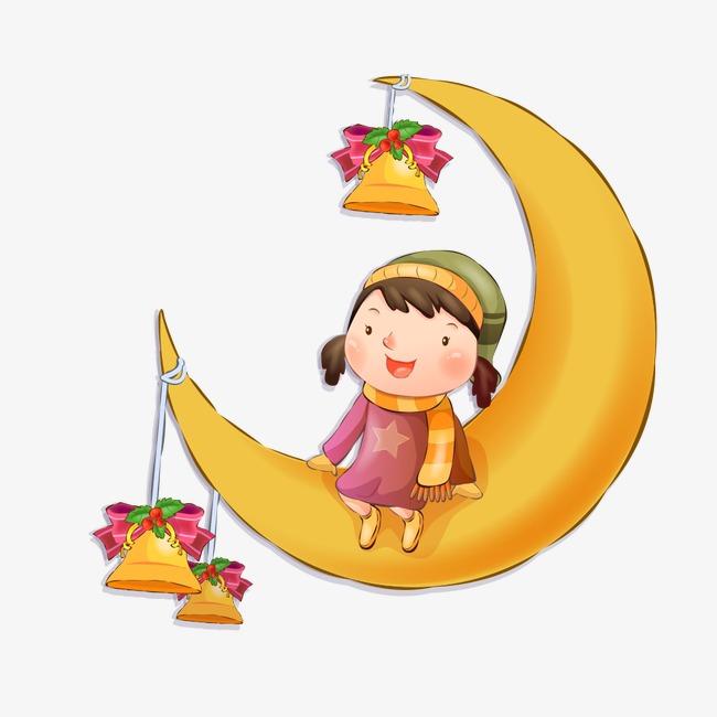 Noel La Lune La Petite Fille Dessin Image Png Pour Le Telechargement