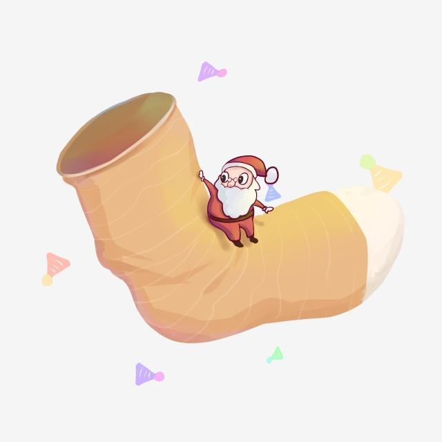 Christmas Socks And Santa Claus Border Santa Clipart