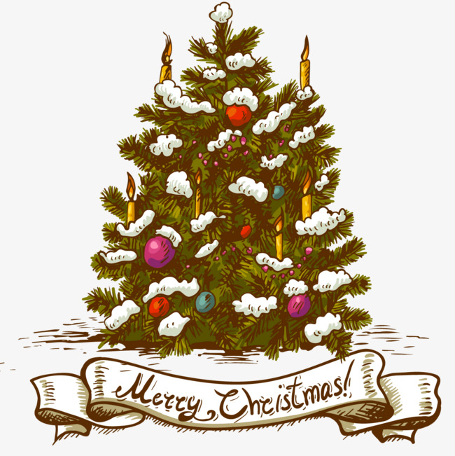 Christmas Tree Vector Ribbon Vector Png And Vector For Free Download