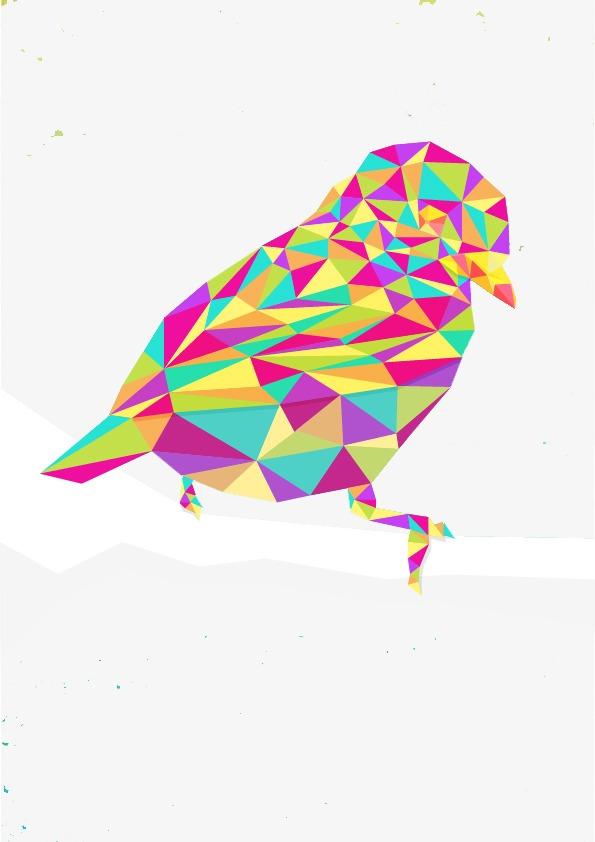 Color Geométricos Cuadrados Ave Diseño Creativo Diseño De Dibujos ...