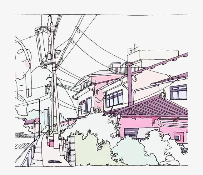 Construcción Sketch Color La Construccion De Casas Poste De Teléfono ...