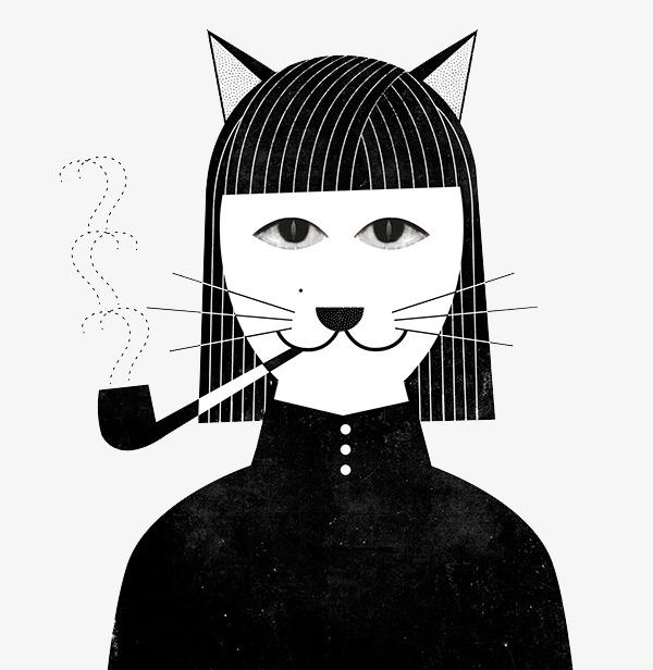 Creative Gato Blanco Y Negro Cabeza Diseño Creativo Diseño De