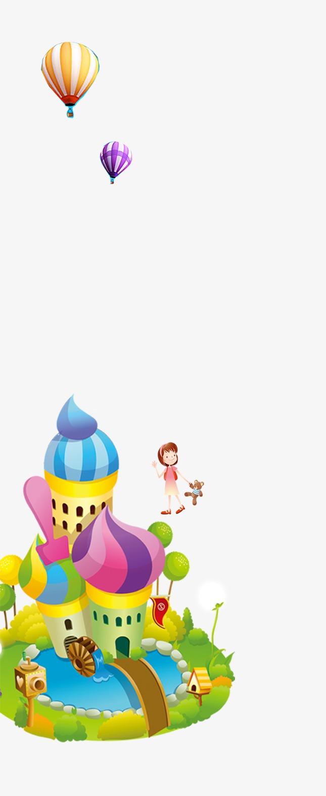無料ダウンロードのためのかわいい素材 かわいい素材 熱気球 城 png画像