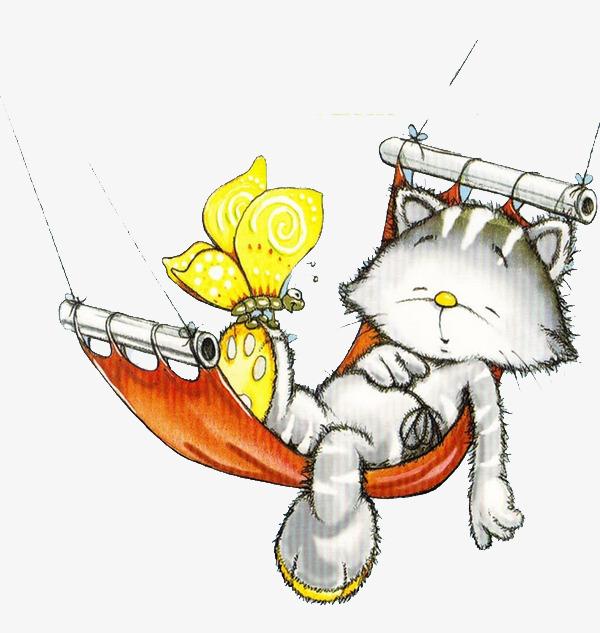 Creative Hand Drawn Animation Cartoon Kitten Cartoon Clipart