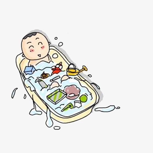 Comel Bayi Mandi Gambar Bahan Indah Kartun Bayi Imej Png Dan Clipart