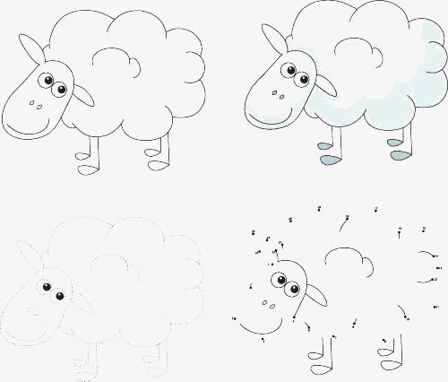 Cute Cartoon Sheep Figura De Palo Enseñanza De Arte Infantil ...