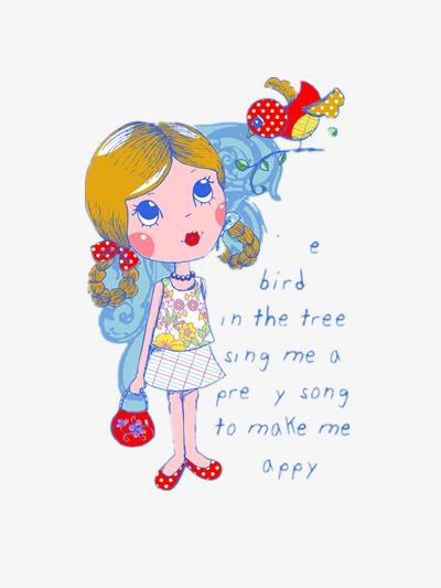 La Jolie Petite Fille Vecteur Illustration Peint A La Main Dessin