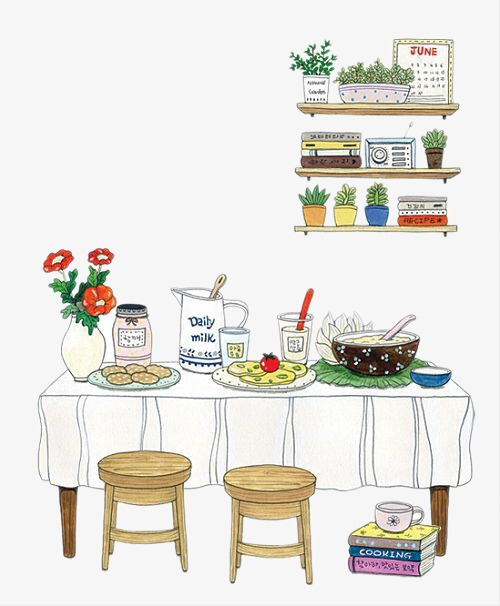 Dining Table, Hand Painted Cartoon, Illustration PNG and ...