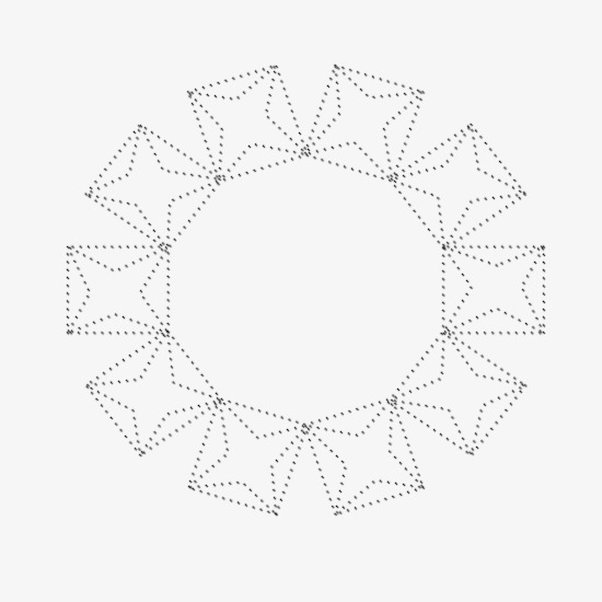 Dotted Line Five Pointed Star Pattern Clipart