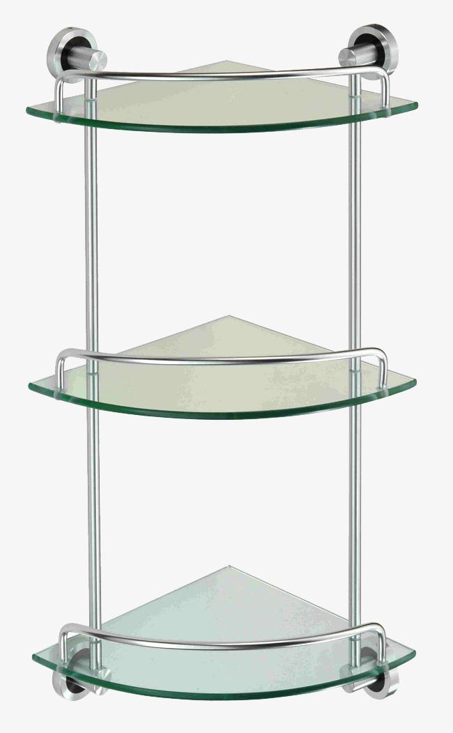 Double Glass Shelf Bathroom With Bathroom Shelf Hardware Png