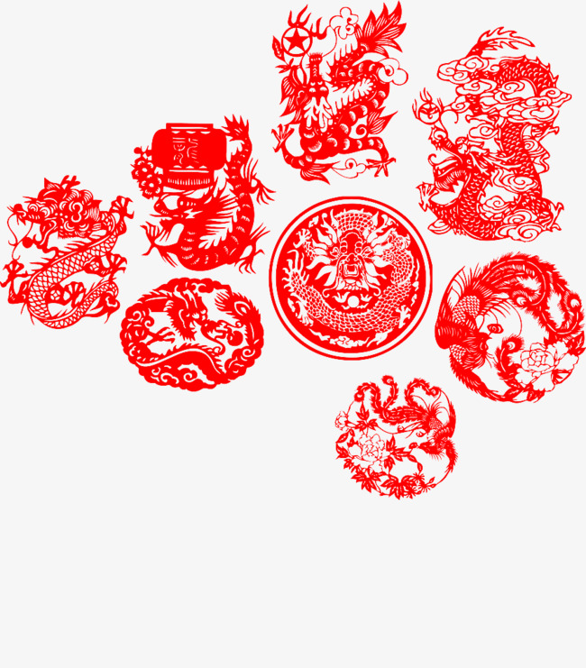 Dragon Chinese New Year Paper Cut Clipart
