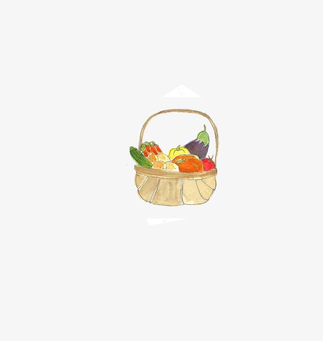 Drawing Vegetable Basket Watercolor Vegetables Basket Png Image