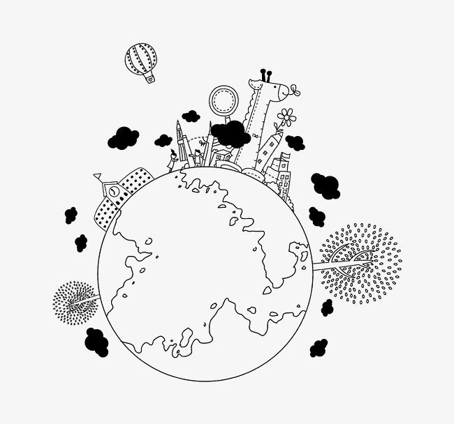 les animaux de la terre v g tale dessin projet de ligne en noir et blanc de la terre image png. Black Bedroom Furniture Sets. Home Design Ideas