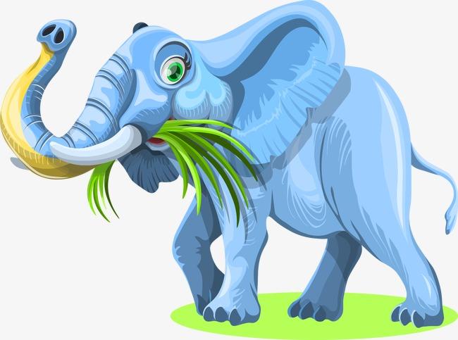 Makan Rumput Gajah Gajah Makan Rumput Gajah Kartun Hiasan Imej Png