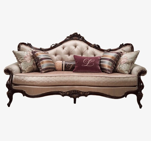 European Leather Sofa Wood Furniture French Combination American Png And Psd