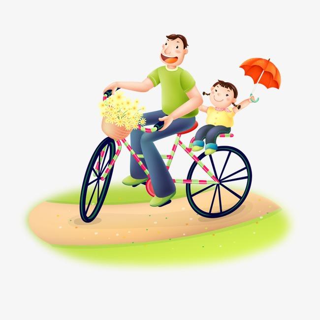 p u00e8re et fille sur la bicyclette des personnages de dessins