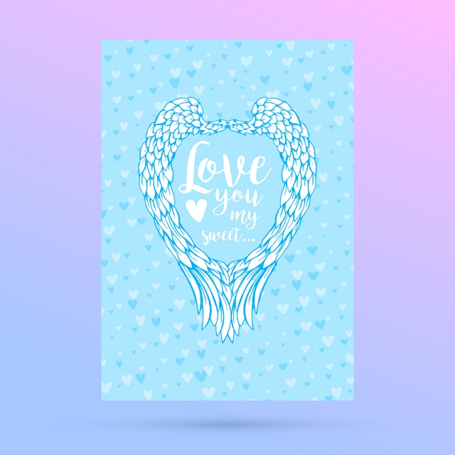 Feathers And Wings Frame In Heart Shapecard For Valentines Day
