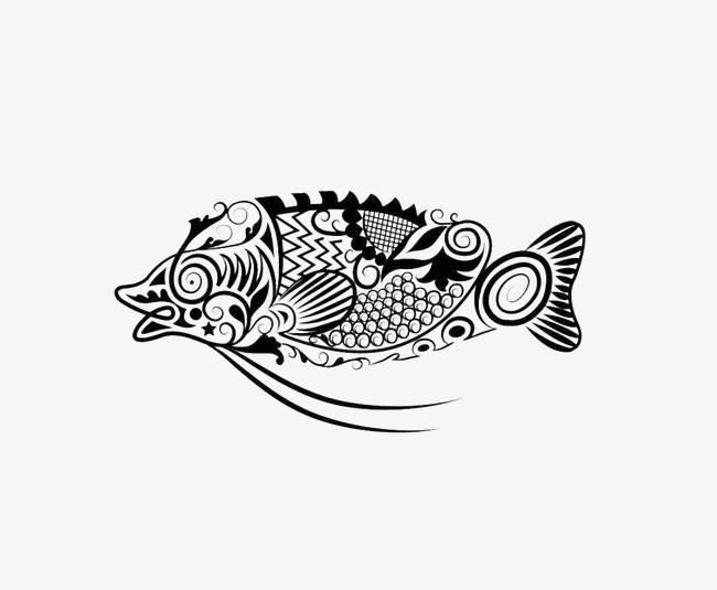 Ikan Decoupage Kartun Hitam Dan Putih Ikan Imej Png Dan Clipart