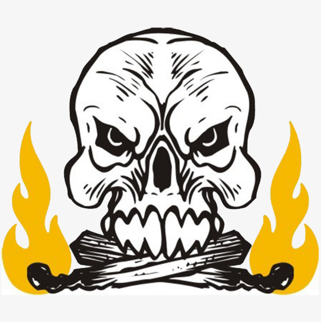 Flame Skull Skull Head Flame Yellow Clipart Image And Psd