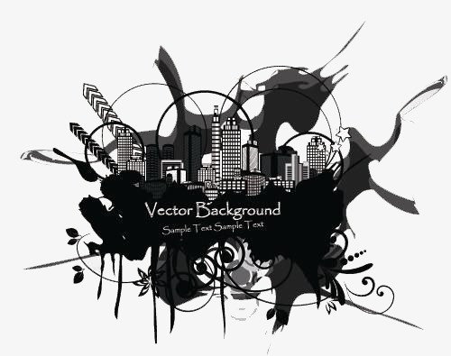 Floating City Creative Hand Painted Black Image And Clipart