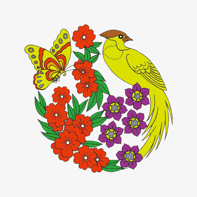 Flowers And Butterflies Hand Drawing Flowers Birds Butterfly Png