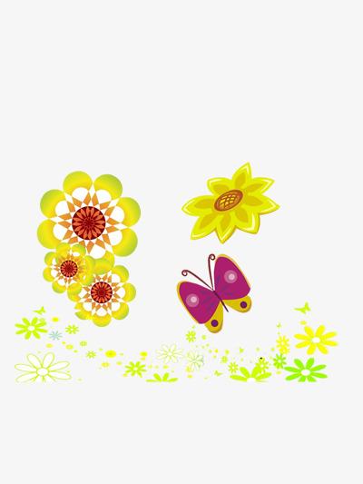 Les Fleurs Et Le Papillon Couleur Dessin Frais Image Png Pour Le
