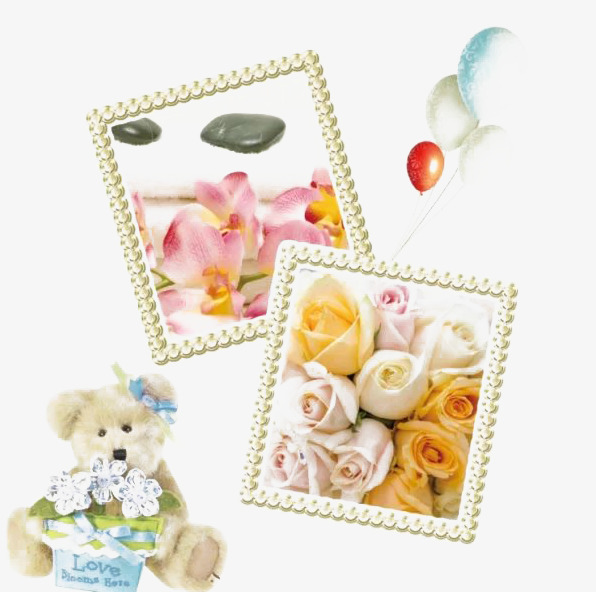 Flowers Border Flowers Frame Toy Bear Balloon Png Image And