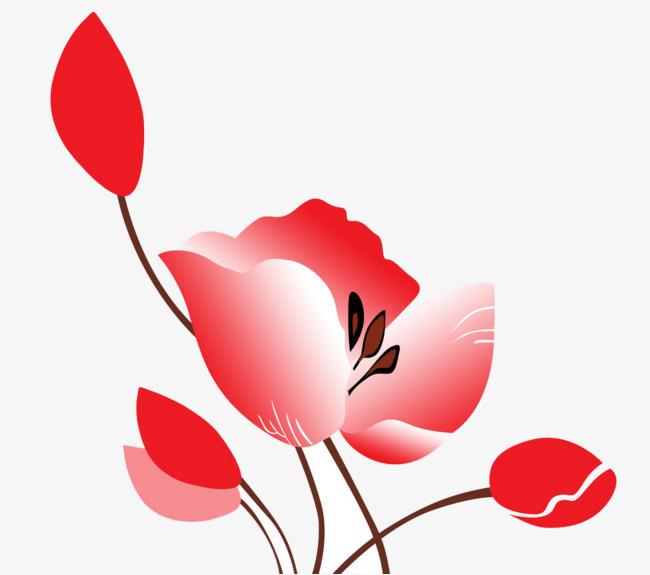 De Petites Fleurs Simple Dessin Rouge Image Png Pour Le